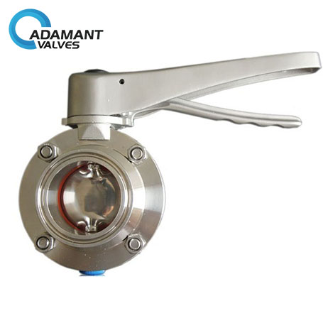Sanitary Butterfly Valves with Tri-clamp Ends, SS Lever Handle