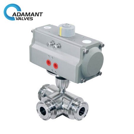 Sanitary 3-way Full Port Ball Valve with Tri-clamp Ends, Pneumatic Type