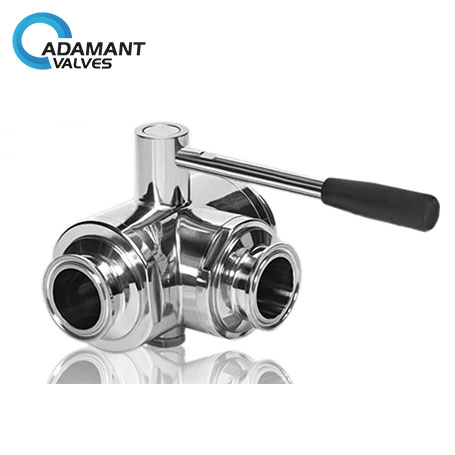Sanitary Stainless Steel 3-way Full Port Ball Valve with Tri-clamp Ends, Manual Type