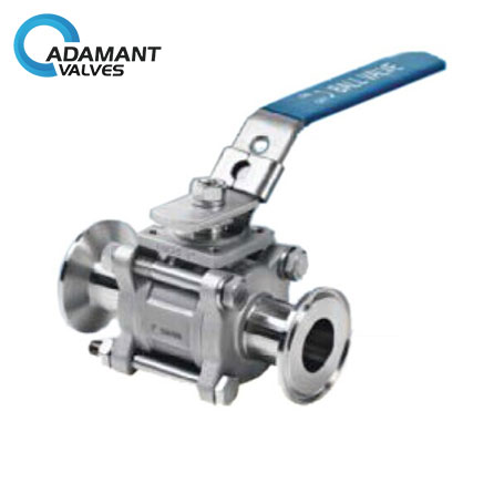 Encapsulated Sanitary 3 Piece Ball Valve with ISO 5211 Mounting Pad, Manual Type