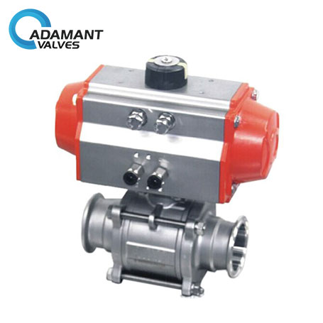 Encapsulated Sanitary Electric Actuated  Ball Valve with 3 Piece