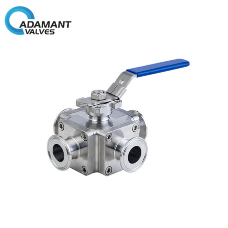 Sanitary Cross Ball Valve, 4-way