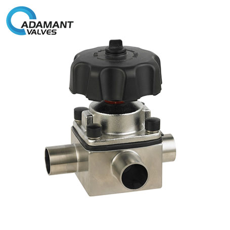 Sanitary 3-way Diaphragm Valve with Butt-weld Ends
