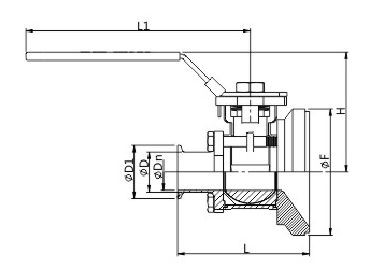 Manual tank bottom ball valve