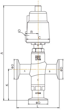 sanitary pneumatic 3 way angle seat valve