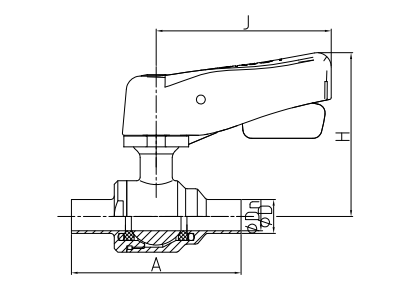 sanitary manual 2-way ball valve with middle screw