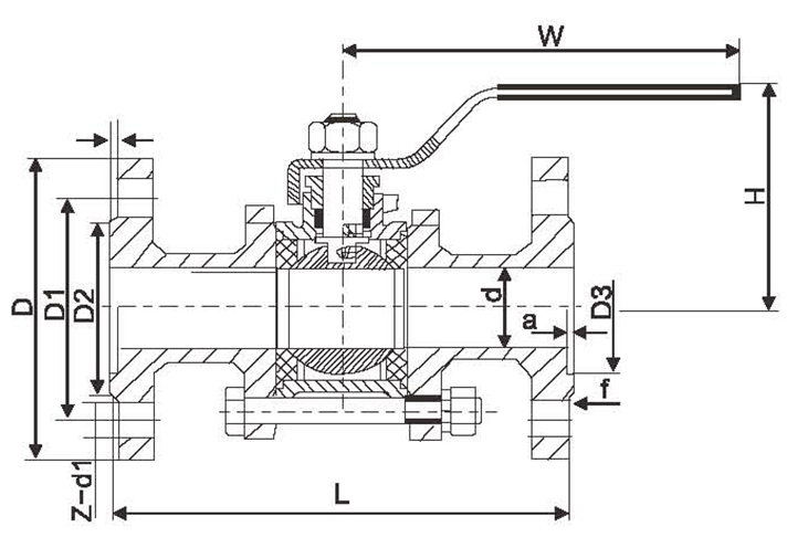 High Performance Manual 3-Pieces Ball Valve with Flange Connection