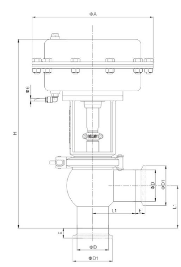 Sanitary 2-way Pneumatic Divert Seat Valve with Tri-Clamp End
